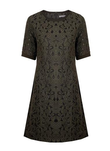 Kayık Yaka Kısa Kol Desenli Elbise-Vekem